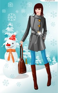 Winter women vector 5 female