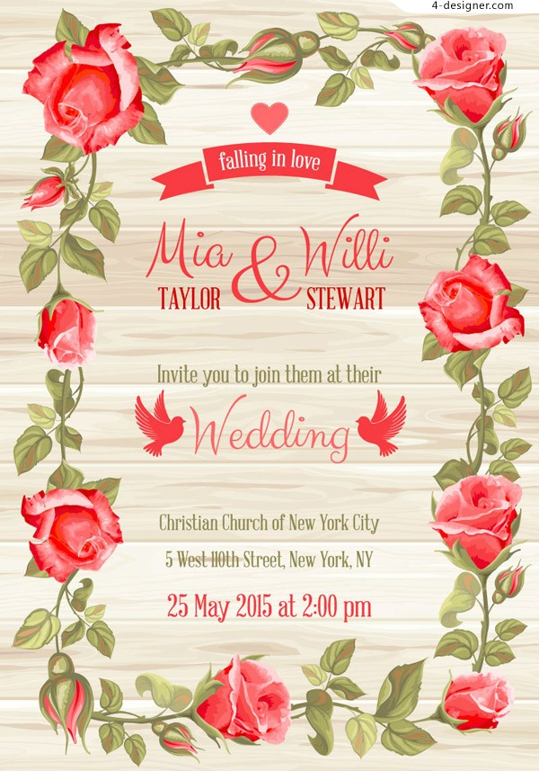 4 Designer Red Roses Border Wedding Invitation Card Vector Material