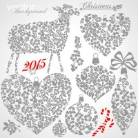2015 Year of the Goat combination of 7 flower graphic material Free Download