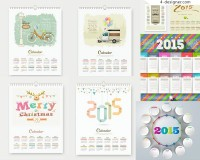 2015 et square and round calendar vector material