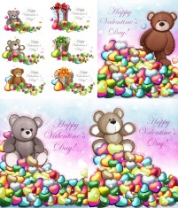 Teddy Bear with heart shaped leaves valentine vector material