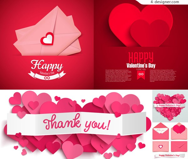 Heart shaped decorative envelopes Valentine theme vector material
