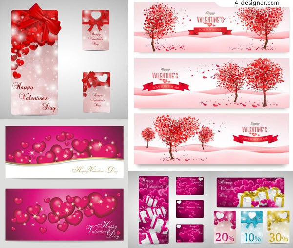 Heart shaped gift boxes and other elements of vector material Valentine s Day