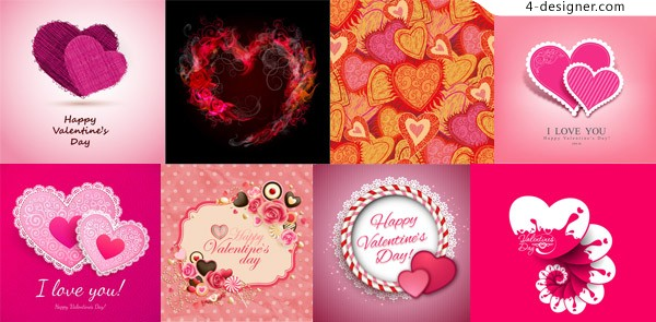 Border flowers and heart shaped Valentine s Day design vector material Free Download