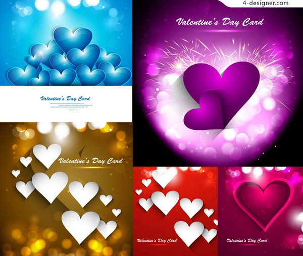 Heart shaped spots bokeh elements and other creative vector material