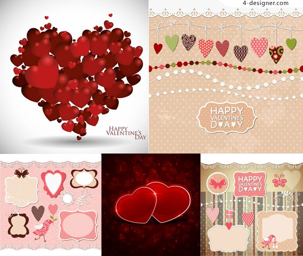 Frame design with red heart shaped Valentine s Day vector material Free Download