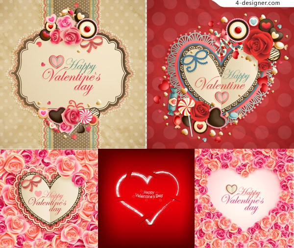 Flowers and hearts Valentine frame design vector material