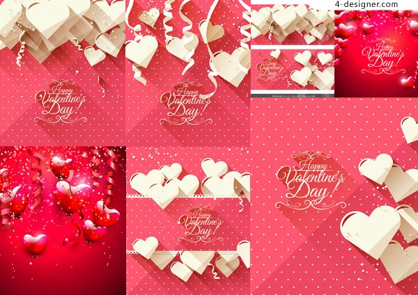 Heart shaped elements vector material Valentine fancy English