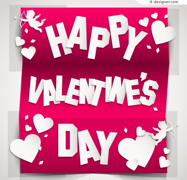 Exquisite folding valentine cards vector material