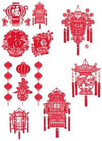 Chinese New Year Lantern Festival lantern Vector