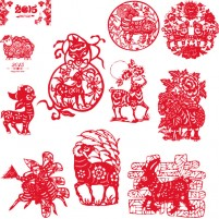 New Year paper cut sheep vector
