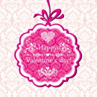 Beautiful pink valentine cards vector material