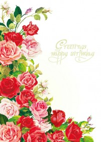 Beautiful roses birthday background vector material