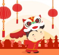 Chinese New Year lion dance girl free download