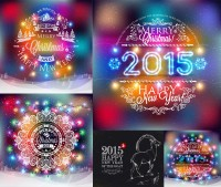 Christmas and New Year decorative lanterns element vector material