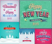 Christmas and New Year poster creative design vector material Free Download