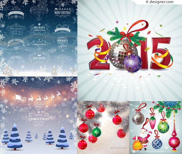 Christmas and New Year with decorative patterns and other creative vector material