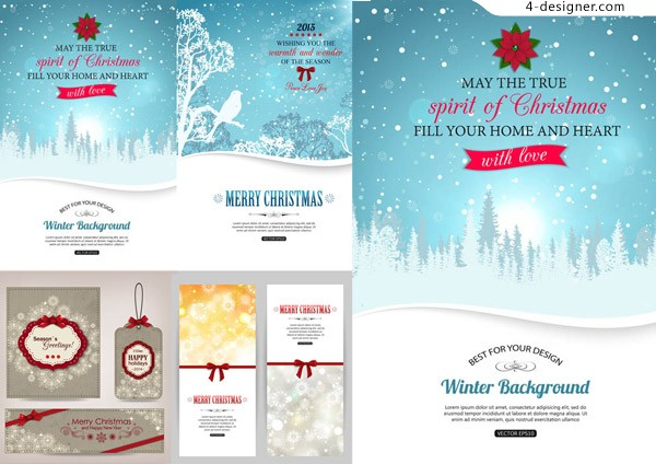 Christmas and winter landscape card tag vector material