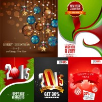Christmas balls hanging with realistic three dimensional characters and other vector material Free Download