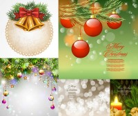 Christmas candles and bells lob decorative vector material