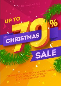 Christmas fashion discount poster vector material