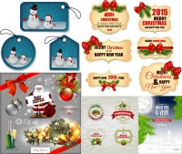 Christmas frame background with snowman tag vector material Free Download