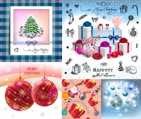 Christmas gift box packed with hand drawn element vector material Free Download