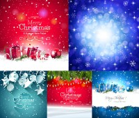 Christmas gift box with fantasy stars and other vector material Free Download