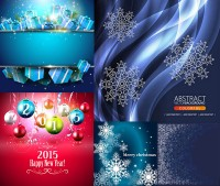 Christmas gift boxes lob and snow and other vector material Free Download
