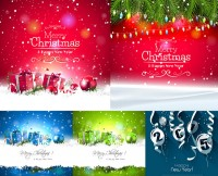 Christmas gift boxes with pine branches lob and other vector material