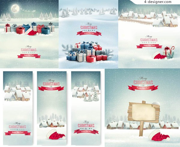 Christmas gift boxes with winter snow and other vector material Free Download