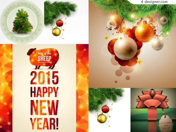 Christmas hanging ball Vector material design