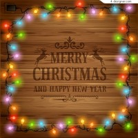 Christmas lights decorate greeting cards vector material wood