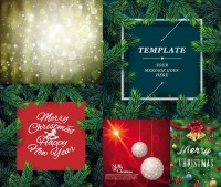 Christmas lob with pine branches and other creative vector material Free Download