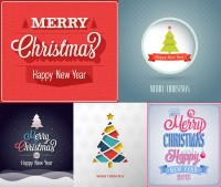 Christmas tree pattern with text and other vector material