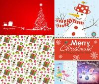 Christmas tree with snowman and other Christmas theme vector material free download