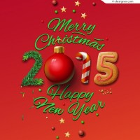 Creative Christmas 2015 WordArt vector material