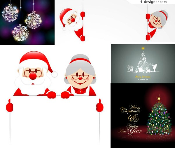 Creative Christmas tree lob and design vector material Free Download