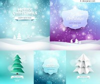 Creative design background with snowflakes Christmas tree vector material download