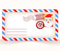 Cute Christmas envelope design vector material