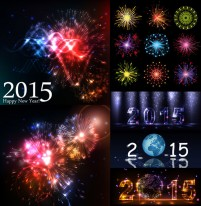 Dazzling colorful fireworks effect vector material Free Download