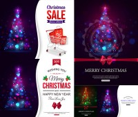 Dazzling light effects Christmas tree poster design vector material Free Download