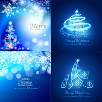 Elegant Christmas tree abstract blue background
