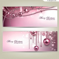 Exquisite Christmas balls greeting card design vector material