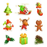 Exquisite Christmas element vector material