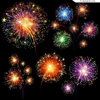 Eye catching holiday fireworks vector material