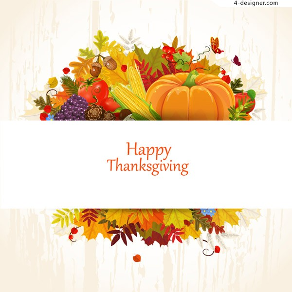 Fall Thanksgiving card vector material
