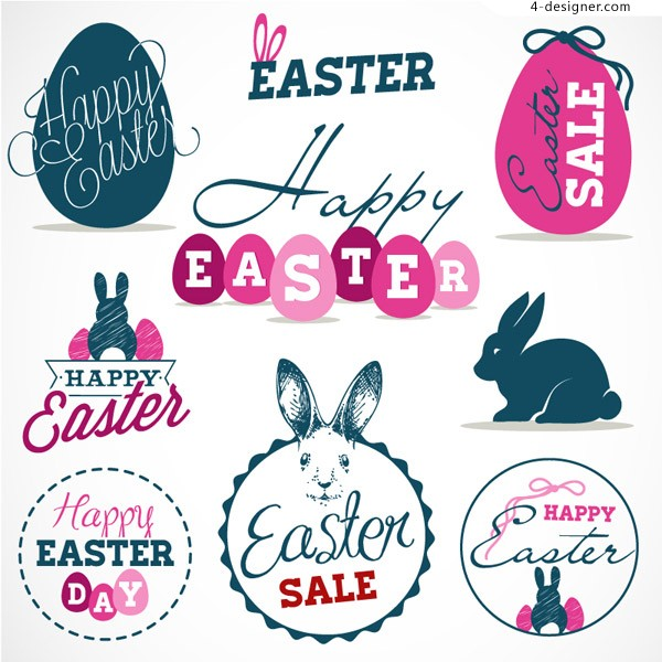 Fresh Easter tag vector material
