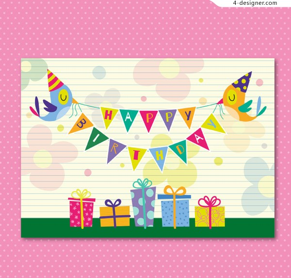 Gift playful birthday card vector material