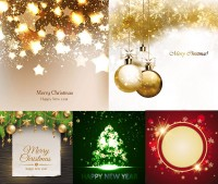 Golden Christmas ball hanging creative design vector material Free Download